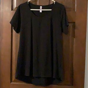 LulaRoe Black Short Sleeve Top Ribbed L